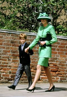 July 18, 1992- Prince Harry and mum Princess Diana dressed in their finest for a summertime wedding at Windsor Chapel