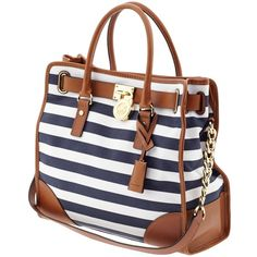 MICHAEL Michael Kors Hamilton Canvas Large North South Tote ($298) ❤ liked on Polyvore