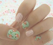 spring nails - green floral and pink and white stripes
