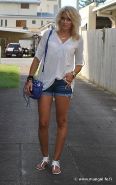 White top and sandals