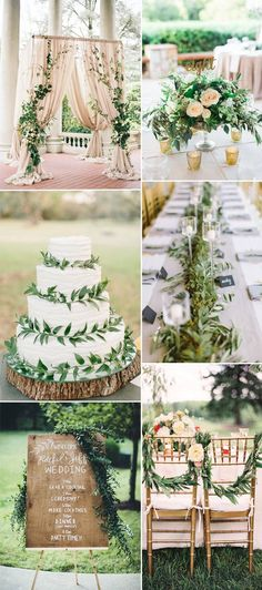 greenery natural wedding theme ideas 2016
