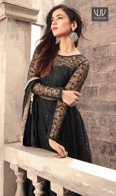 e34c4fefad Sonal Chauhan Black Color Net Designer Anarkali Suit Designer Anarkali, Designer  Salwar Suits, Bollywood