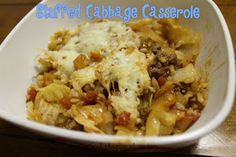 Stuffed Cabbage Casserole - no slaving to roll up all the meatballs! #casserole #recipe