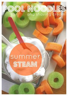 Pool Noodles and Shaving Cream Summer STEAM Activity