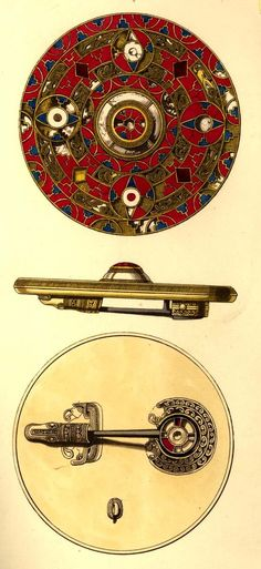 Anglo-saxon brooch, front, back and side views. Trinity College, Dublin