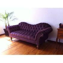 Sofá Chesterfield Capitonado Sala Mueble Madera Vintage