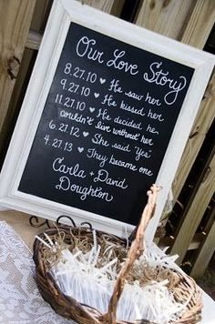 Cute way to tell guests our love story