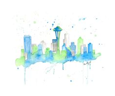 "Seattle Skyline Giclee Canvas Art Print 8x10, 11x14 or 16x20 On Gallery Wrapped Canvas by Artist Amber McDowell. Giclee canvas art print of my original watercolor Seattle skyline. Gallery wrapped canvas is printed with 100% archival inks with a 12 color process for perfect vibrant colors. These prints come with hanging hardware installed and felt bumpers. Gallery wrapped canvas are 1.5"" in width for a museum art feel."