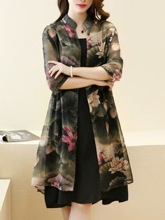 Casual Lotus Printed Chiffon Two-Piece Shift Dress -You can find Lotus and more on our website.Casual Lotus Printed Chiffon Two-Piece Shift Dress - Elegant Dresses, Casual Dresses, Fashion Dresses, Loose Dresses, Midi Dresses, Shift Dresses, Cheap Dresses, Fashion Fashion, Fashion Online
