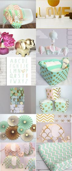 Nursery | Mint, Pink, Gold, and Elephants