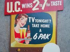 1950s Utica Club Beer Die Cut Bottle Topper NY Schultz Dooley Steins Ale UC Sign