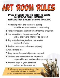 ART CLASS RULES The Art Studio of Menlo Park Important Class Information … written by Ms. Art Talk, Be Art Smart Classes 1 to I'm done, now what? Art Class Rules, Art Classroom Rules, Art Room Rules, Art Classroom Management, Art Rules, Classroom Organization, Classroom Posters, Class Management, Classroom Helpers