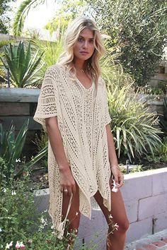 5eda83efd9d7 Women's Fashion Swimwear Crochet Tunic Cover up/Beach Dres, Beige4 <3 #
