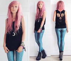 Omg Fashion Skull Cut Out Top, Oasap Mermaid Leggings, Jeffrey Campbell Spiked Damsels, Hunter Moon Necklace