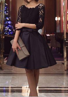 Mi-longue robe patineuse avec dentelle noeud papillon col ronde manches 3/4 élégant noir
