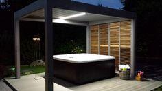 www.novirtua.com   Stella Mccartney Schuhe, Aluminum Pergola, Pool Designs, Timeless Design, Terrace, Tub, Garden Design, Patio, Outdoor