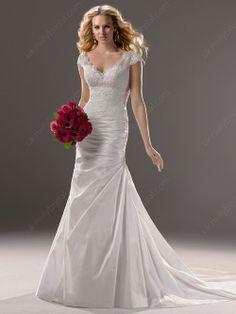 Trumpet/Mermaid Off-the-shoulder Taffeta Court Train Lace Wedding Dresses