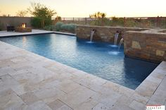 Travertine stones Pavers are the best for all the places and also low maintenance. Perfect matching to the outdoor swimming pool yard. Pool Pavers, Backyard Pool Landscaping, Pool Coping, Natural Stone Pavers, Natural Stones, Outdoor Swimming Pool, Swimming Pools, Travertine Pavers, Pool Picture