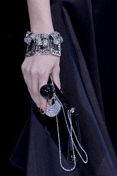 Giorgio Armani at Milan Fashion Week Fall 2013 - Details Runway Photos Black Magic Woman, Black Tie Affair, Armani Prive, Couture Fashion, Milan Fashion, Fashion Details, Giorgio Armani, Black Silver, Fashion Accessories
