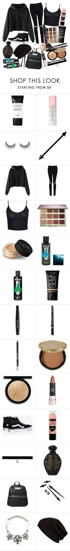 """""""I need you to tell me everything will be alright, to chase away the voices in the night. When they call my name, have I gone insane?"""" by thelyricsmatter ❤ liked on Polyvore featuring Smashbox, Too Faced Cosmetics, Unicorn Lashes, Boohoo, New Look, tarte, NARS Cosmetics, Hot Topic, NYX and Urban Decay"""