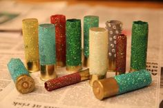 Glitter bullet shell ornaments for the tree . Or for anything really !