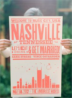 DIY Wedding Favor Poster- I love this idea because it gives friends and family a cool piece of art they can display later. It's easy and can be personalized to your wedding location. This is a great favor idea for music/ vintage lovers!~KSL