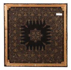 Alter Kashmir Zardozi Indien, prächtige Seiden- und Metallfadenstickerei, goldfarben mit Musterpart — Teppiche