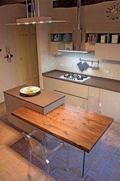Cute Kitchen, New Kitchen, Kitchen Interior, Kitchen Decor, Kitchen Island Dining Table, Kitchen Cabinet Remodel, Interior Decorating, Interior Design, Cuisines Design
