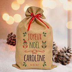 Joyeux Noël Caroline :) sac toile de jute personnalisé - fabrication 24h- à déposer au pied du sapin