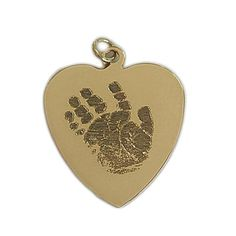 Custom Engraved Actual Handprints and Footprints Jewelry | Heart Pendant- 14K Yellow Gold {Prints on Both Sides}