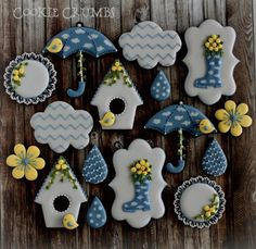Rainy day cookies. The umbrella cookies were inspired by Teri Pringle Wood.