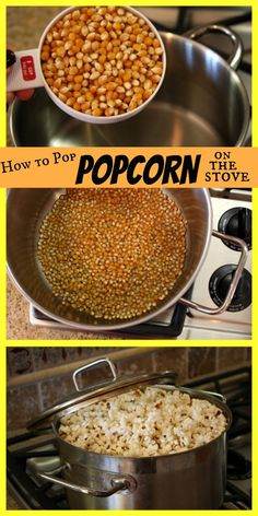 How to Pop Popcorn on the Stove. Super easy method for popping popcorn on the s … How to Pop Popcorn on the Stove. Super easy method for popping popcorn on the stove. If youve never tried it, you must… its so much better than using a machine or popping Yummy Snacks, Healthy Snacks, Healthy Eating, Yummy Food, Tasty, Healthy Recipes, I Love Food, Good Food, Homemade Popcorn