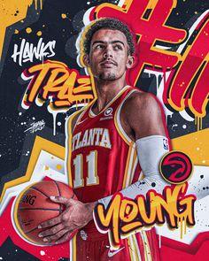 Basketball Posters, Basketball Design, Basketball Art, Football Design, Foto Doodle, Nba Background, Nba Pictures, Sports Graphic Design, Atlanta Hawks