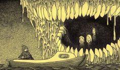 Arte Post It, Post It Art, Creepy Monster, Scary Monsters, Creepy Drawings, Creepy Art, Art And Illustration, Arte Horror, Horror Art