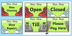A fantastic set of signs is absolutely key for any role play area. Help your children to get in role by using them as props, prompts, or to simply decorate and define your role play area. Role Play Areas, Shoe Shop, Prompts, How To Get, Signs, Learning, Children, Shopping, Young Children