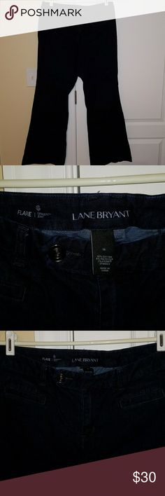 "Lane Bryant size 16 Genius Fit Dark Flare Jeans Lane Bryant size 16 Genius Fit Dark Denim Flare Jeans. Approx 31"" inseam. Tab double button closure. No wear on the cuffs. Excellent condition, smoke free, one cat home. Lane Bryant Jeans Flare & Wide Leg"