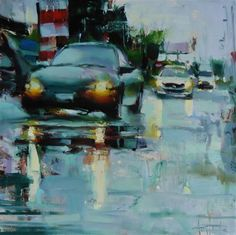 "Daily+Paintworks+-+""Rainy´s+day+traffic""+-+Original+Fine+Art+for+Sale+-+©+Víctor+Tristante"