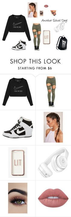 """""""Another School Day!"""" by leelee13030 on Polyvore featuring NIKE, Missguided, Beats by Dr. Dre, Lime Crime, nike and anotherschoolday"""