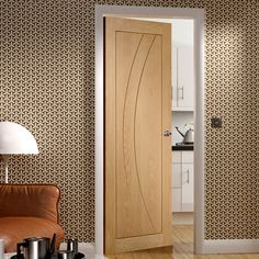 Our prefinished Salerno oak flush panel door is a bright new door style with a stylish pattern.