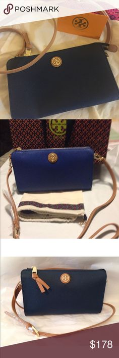 "NWT Tory Burch Cameron Cross Body Bag Brand New Tory Burch Cameron Navy Brown Coated Canvas Crossbody   100% Authentic   Coated canvas bag with long brown leather adjustable crossbody strap Goldtone metal stacked ""t"" logo at the front, goldtone hardware and top zip closure The strap attaches to the bag with clips, easily removed to use as a clutch, taking it from day to evening Inside is lined in the Tory Burch logo fabric Approx 9.5"" L X 5.5""H X 1"" D Strap drop of up to about 22""  Comes…"