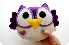 Purple Plush Owl Toy / Eco Friendly Stuffed Toy by vivikas on Etsy, $26.00