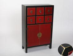 Muebles para el Hogar: Muebles Orientales | Recibidor oriental japones con 6 cajones centrales MB-97422 Negro y Rojo
