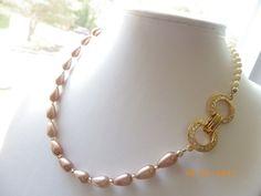 Brown reddish cocoa pearls teardrop bead cream pearls, gold clasp necklace $22.00
