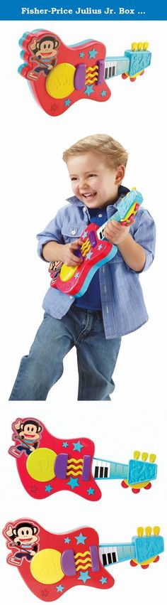 Fisher-Price Julius Jr. Box Top Guitar. Rock out with Julius Jr. on this multi-instruments-in-1 guitar! Strum the guitar to play the lead, tap the drum to add percussion and tilt the guitar to add sounds during song play. Features over 20 sounds including music, interactive games and phrases!.