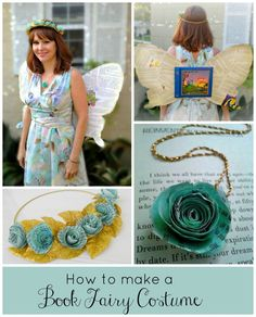 How to make a Book Fairy Costume--this is adorable! Perfect teacher costume, librarian costume or geek costume! Make fairy wings from your favorite book. Book Fairy Costume, Fairy Tale Costumes, Book Week Costume, Diy Costumes, Costume Ideas, Librarian Costume, Librarian Chic, School Librarian, Librarian Career