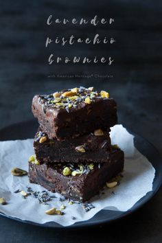 Incredible lavender pistachio brownies!  We love getting together, so why not bake a batch of brownies to share? Want to show a little extra appreciation, AMERICAN HERITAGE® Chocolate has developed a stunner - so good!
