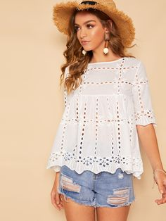 Product name: Scallop Hem Schiffy Eyelet Smock Blouse at SHEIN, Category: Blouses Blouse Peplum, Sheer Blouse, Scalloped Hem, Summer Shirts, Pulls, Half Sleeves, Smocking, Sleeve Styles, Boutique Hair Bows