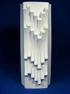 Cool 70´s Hutschenreuther Pop Art Design Relief Porzellan Vase 6338 / 25 cm
