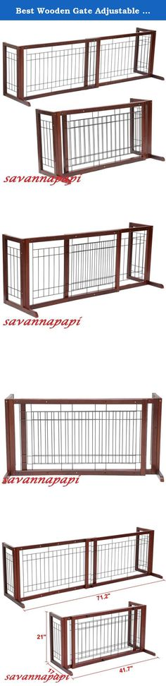 Best Wooden Gate Adjustable Indoor Solid Wood Construction Pet Fence Gate Free Standing Dog Gate. 100% brand new adjustable wood fence A great way to restrict the movement of small to medium dogs Such as Beagles, Bulldogs, miniature poodles and other dogs of similar sizes Slide-out design, expands from 38 to 71 inch to fit doorways, hallways etc Side panel supports that stands freely and securely in any open areas Sturdy and durable fir wood construction with high quality steel wire…