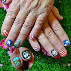 Route 66 themed nail art for a USA holiday! www.kawaiiklaws.com
